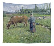 Girl Tending A Cow In Pasture Tapestry