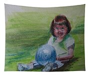 Girl With Ball Tapestry