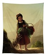 Girl With Basket Tapestry
