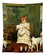 Girl With Dogs Tapestry