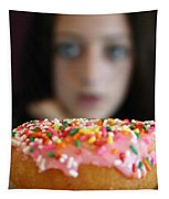 Girl With Doughnut Tapestry by Linda Woods