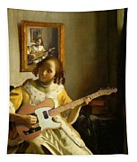 Girl With Guitar Tapestry