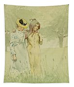 Girls Strolling In An Orchard Tapestry by Winslow Homer