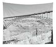 Glen Canyon Bridge Bw Tapestry