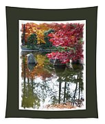 Glorious Fall Colors Reflection With Border Tapestry