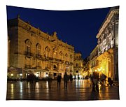 Glossy Outdoor Living Room - Passeggiata On Piazza Duomo In Syracuse Sicily Tapestry