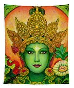 Goddess Green Tara's Face Tapestry