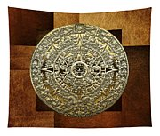 Gold Mayan-aztec Calendar On Brown Leather Tapestry