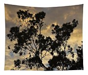 Gold Sunset Tree Silhouette I Tapestry