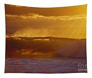 Golden Backlit Wave Tapestry