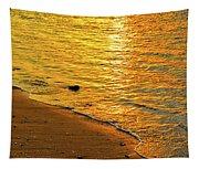 Golden Beach Sunset Tapestry