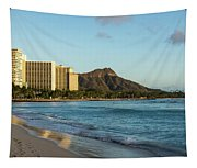Golden Bliss On The Beach - Waikiki And Diamond Head Volcano Tapestry