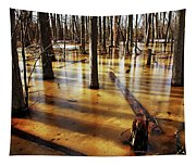 Golden Brown Frozen Pond Tapestry
