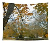Golden Bus Stop Late Autumn Tapestry