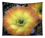 Golden Cactus Bloom Tapestry