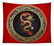Golden Chinese Dragon Fucanglong On Red Leather  Tapestry