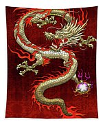 Golden Chinese Dragon Fucanglong On Red Silk Tapestry