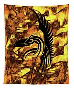 Golden Flight Contemporary Abstract Tapestry