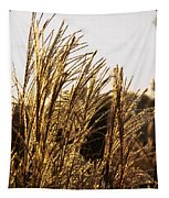 Golden Grass Flowers Tapestry