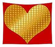 Golden Heart Red Tapestry