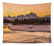Golden Teton Sunset Tapestry