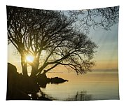 Golden Tranquility - Lacy Tree Silhouettes On The Lake Shore Tapestry