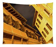 Golden Yellow Night - Chic Zigzags Of Oriel Windows And Serrated Roof Lines Tapestry