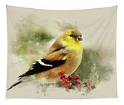 Goldfinch Watercolor Art Tapestry
