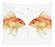 Goldfish Love Watercolor Tapestry