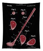 Golf Club Patent Drawing Black 2 Tapestry
