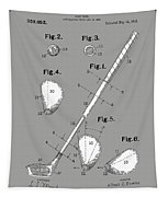 Golf Club Patent Drawing Grey Tapestry