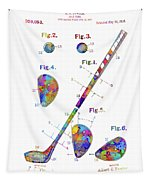 Golf Club Patent Drawing Watercolor Tapestry