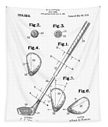 Golf Club Patent Drawing White Tapestry