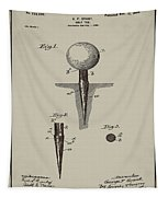 Golf Tee Patent 1899 Aged Gray Tapestry