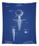 Golf Tee Patent 1899 Blueprint Tapestry
