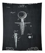 Golf Tee Patent 1899 Chalk Tapestry