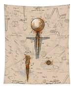 Golf Tee Patent Drawing Sepia Tapestry