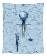 Golf Tee Patent Drawing Watercolor Tapestry