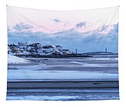 Good Harbor Beach And Thacher Island Covered In Snow Gloucester Ma Tapestry