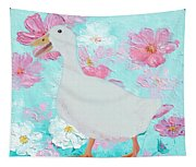Goose On Floral Background Tapestry
