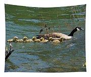 Goslings In A Row Tapestry