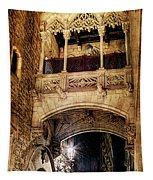 Gothic Bridge At Night In Barcelona 2 Tapestry