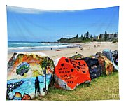 Graffiti At The Beach Tapestry