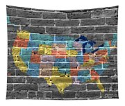 Graffiti  Map Of The United States Of America Tapestry