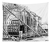 Grain Silos In Black And White Tapestry