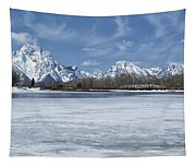 Grand Tetons And Snake River From Oxbow Bend 16-9 Tapestry