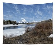Grand Tetons From Oxbow Bend At A Distance Tapestry