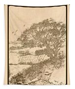Grape Arbor On Brown Tapestry