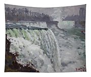 Gray And Cold At American Falls Tapestry