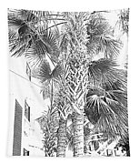 Grayscale Palm Trees Pen And Ink Tapestry